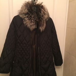 Post Card Real Down Jacket with Fur Collar